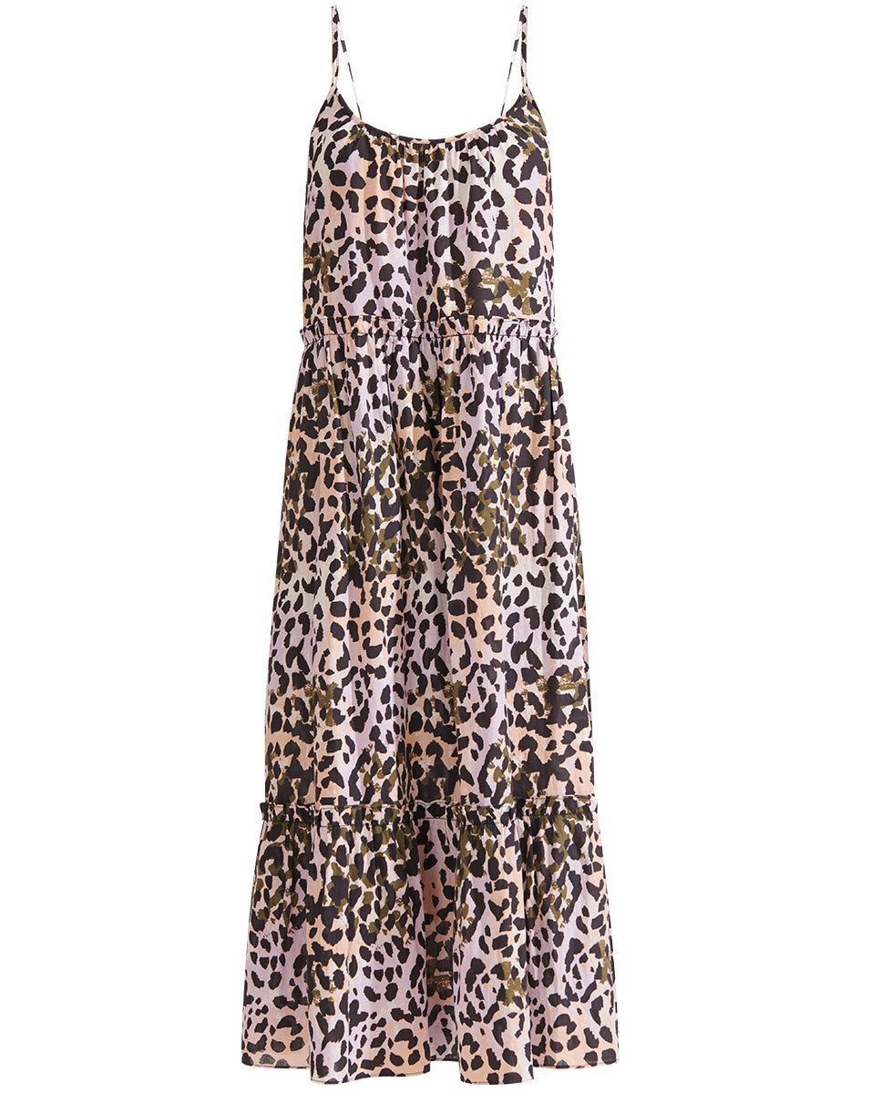 Ayesha Watercolor Leopard Dress - Lilac Multi
