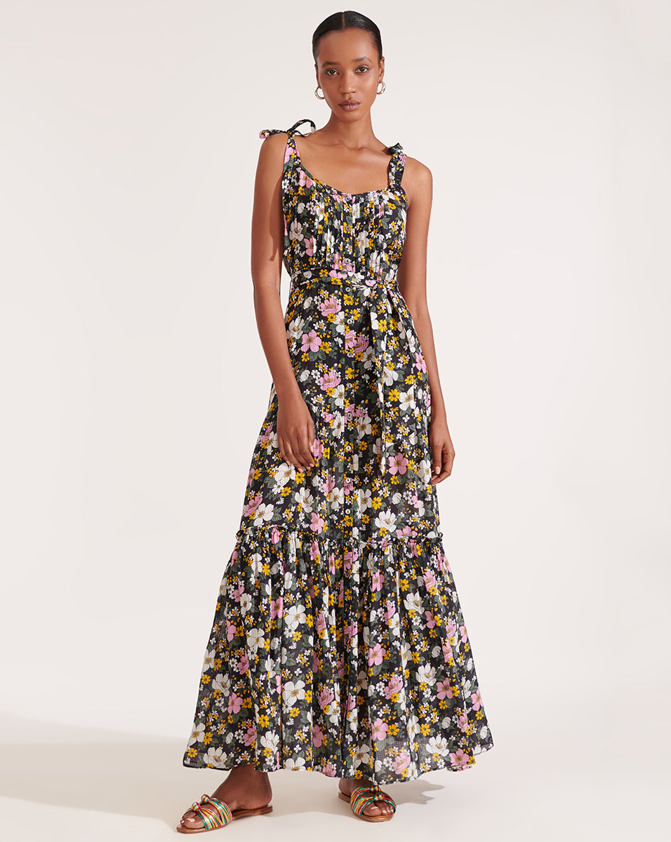 Michi Floral Maxi Dress - Black Multi