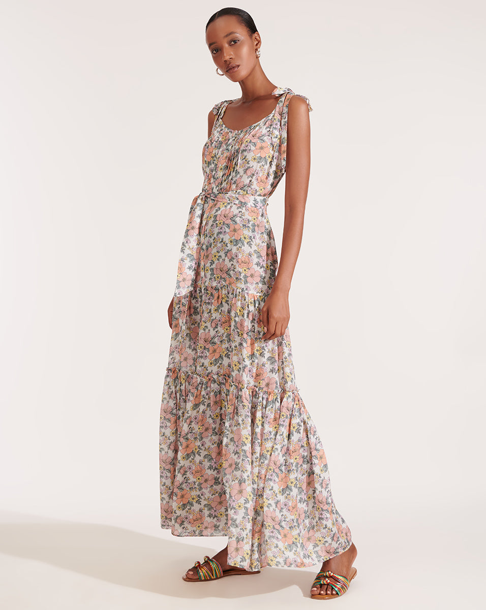 Michi Floral Maxi Dress - Off White Multi