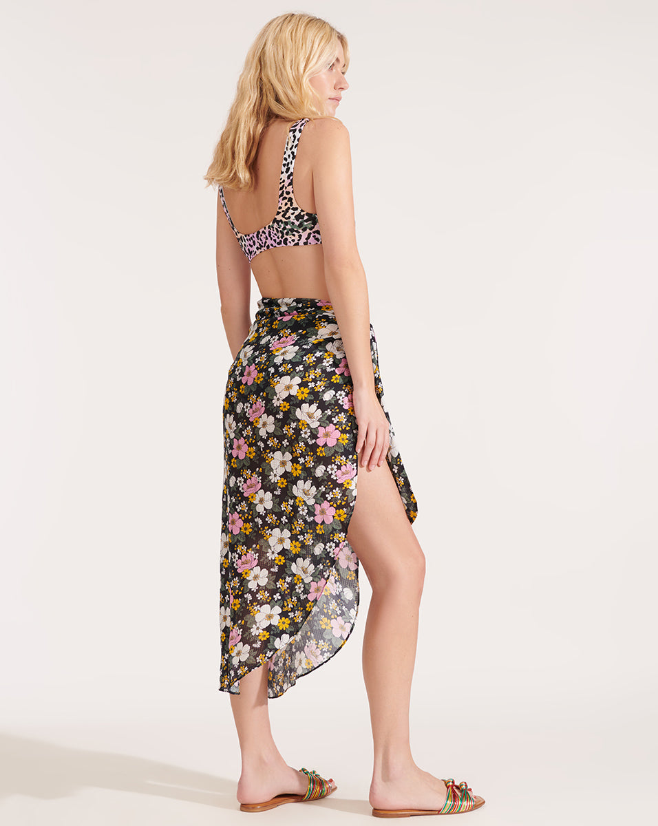Bradley Floral Pareo - Black Multi