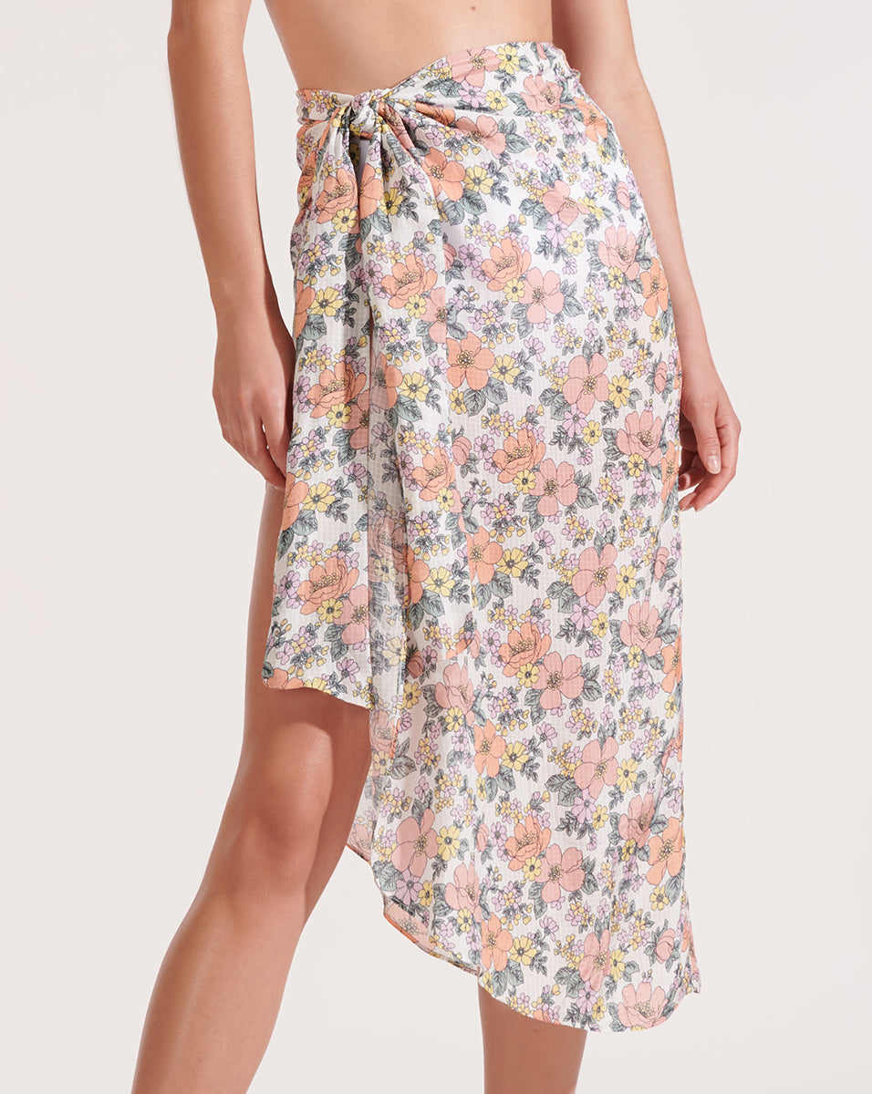 Bradley Floral Pareo - Off White Multi