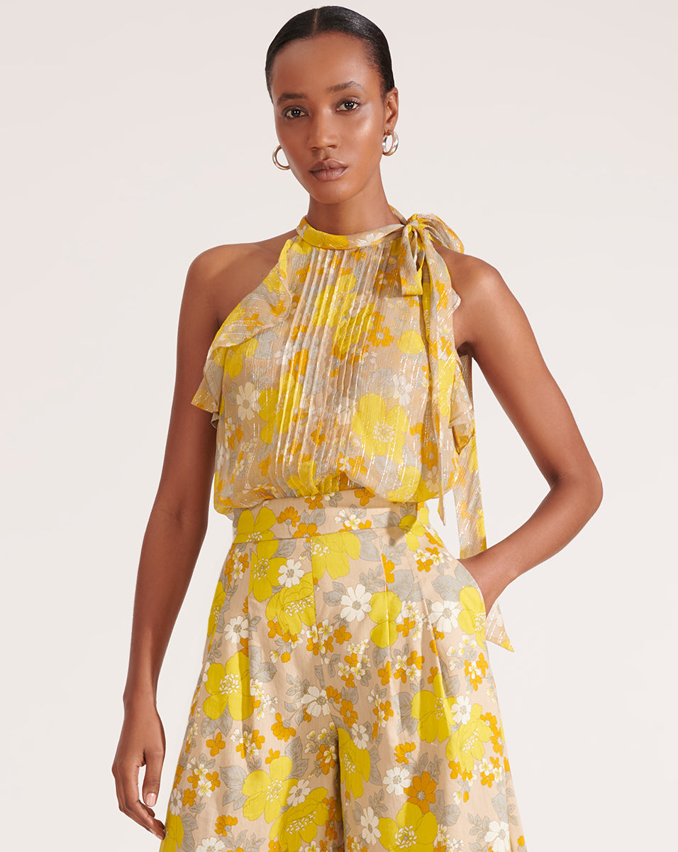 Dali Floral Tie-Neck Top