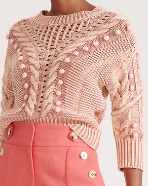 Eleanor C/n Cable Pullover - Pink