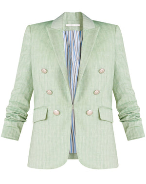 Beacon Herringbone Linen Dickey Jacket - Green