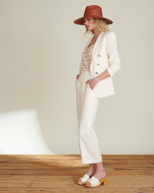 Beacon Herringbone Linen Dickey Jacket - White
