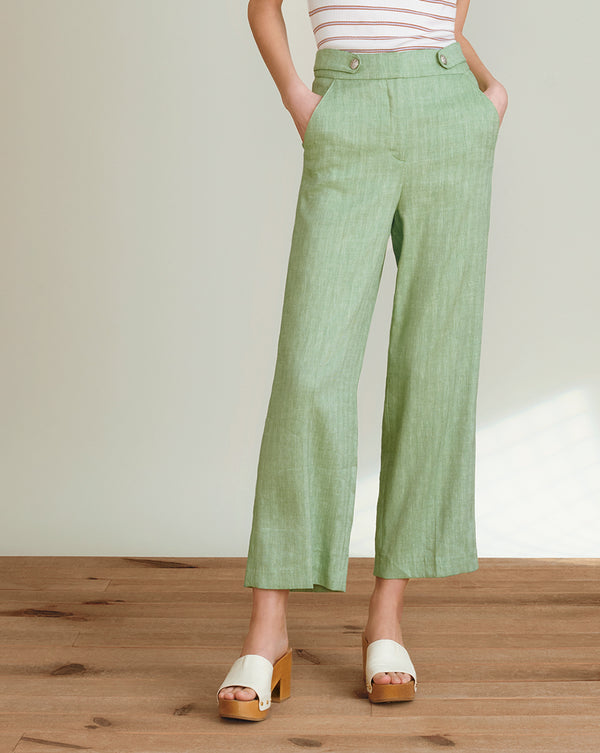 Isley Herringbone Linen Pant - Green