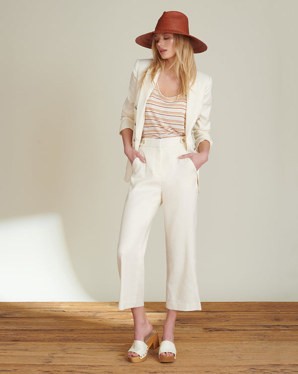Isley Herringbone Linen Pant - White