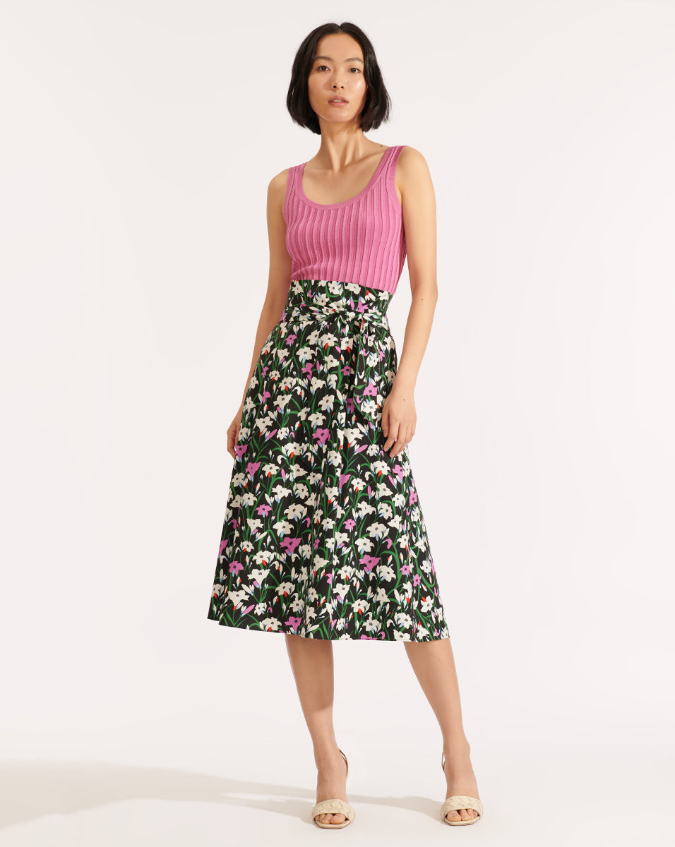 Avi Floral Midi Skirt - Black Multi
