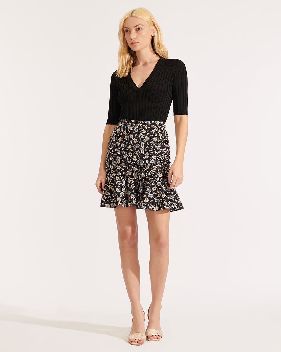 Taras Floral Skirt - Black Multi