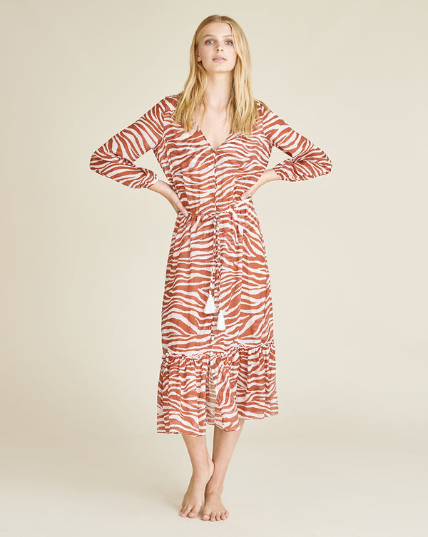 Mallory Zebra Cover-Up Dress - Rust