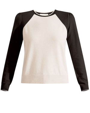 Albertina Cashmere Sweater - White/Black