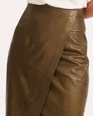 Delilah Leather Skirt - Olive