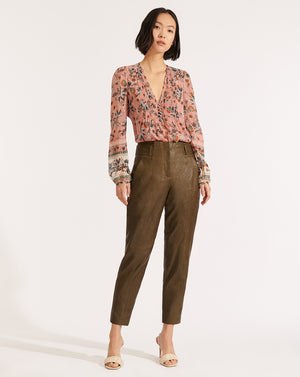 Kaylee Leather Pant - Olive