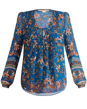 Lowell Blouse - Cerulean Multi