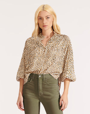 Reba Cheetah Blouse - Antique White Multi