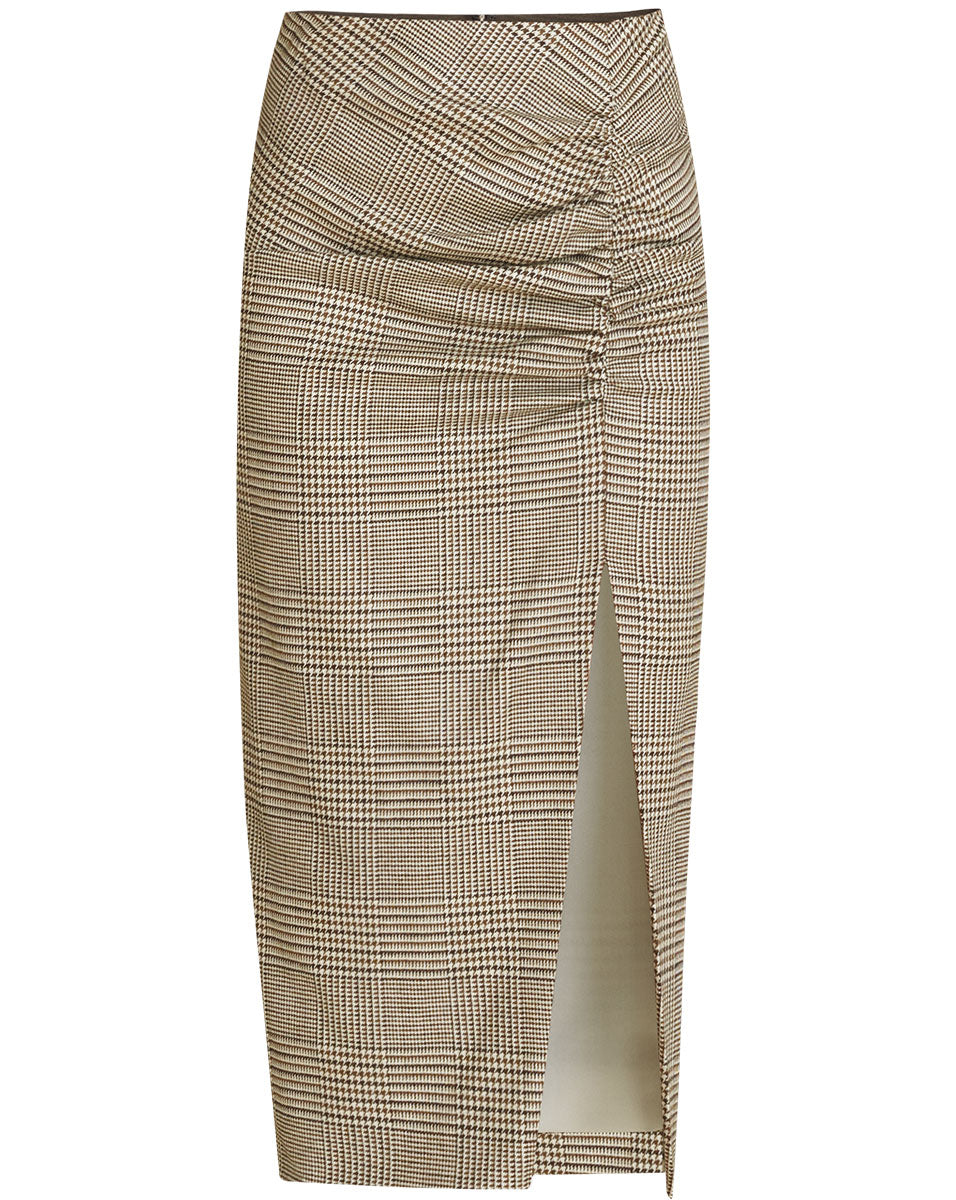 Tamic Plaid Ruched Skirt - Natural