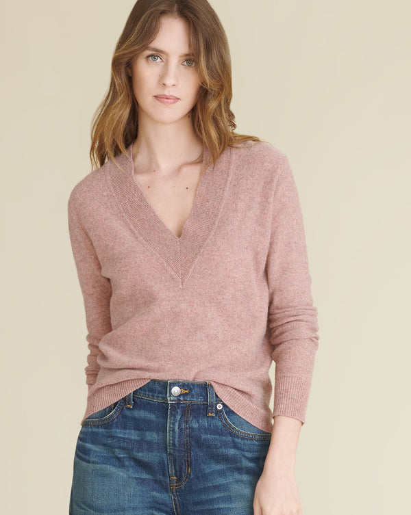 Coleta V-Neck Cashmere Sweater - Light Pink