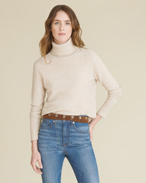 Kressy T-Neck Cashmere Sweater - Oatmeal
