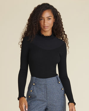Marisha Ribbed Sweater - Black