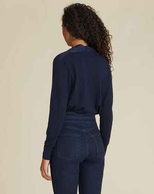 Ingrid Mixed-Media Top - Navy
