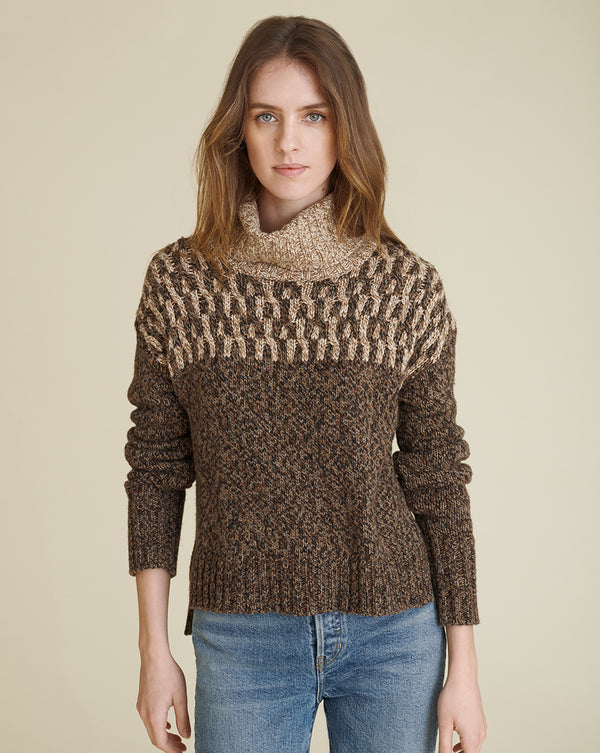 Bia Turtleneck Sweater - Brown Multi