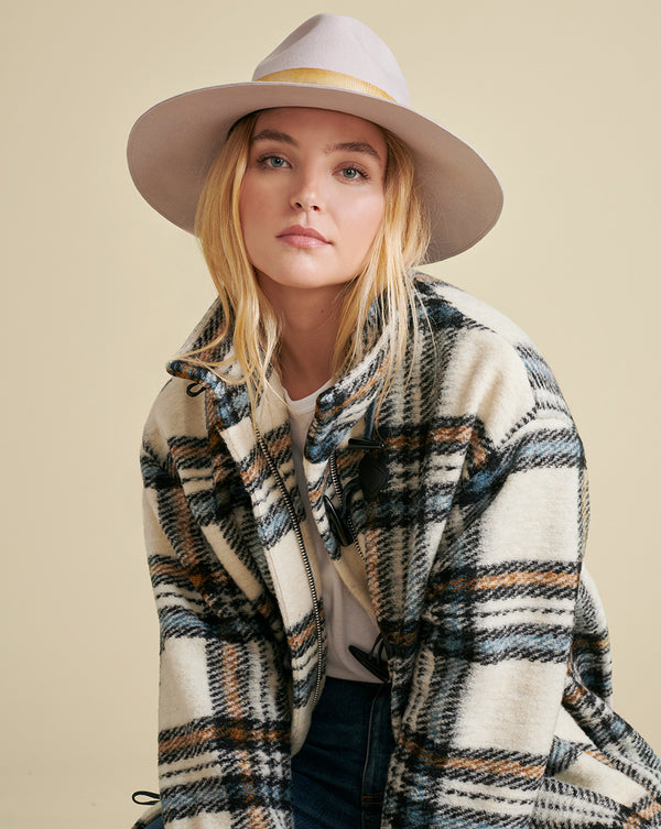 Cael Plaid Dickey Coat - White Multi
