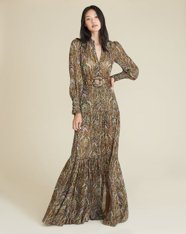 Monali Paisley Maxi Dress - Green Multi