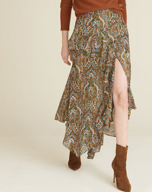 Trixie Paisley Midi Skirt - Green Multi