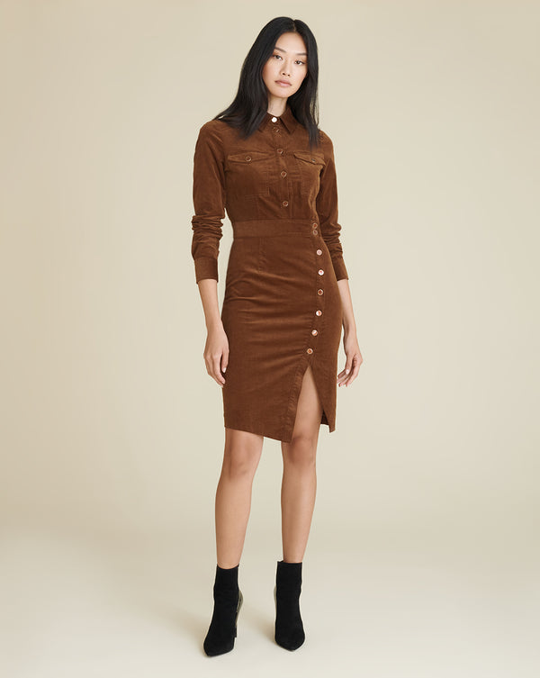 Britton Button-Down Shirtdress - Cognac