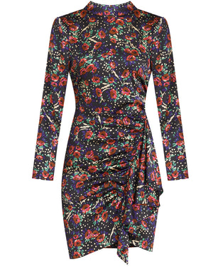 Louella Floral Minidress - Black Multi