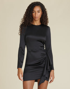 Rula Stretch-Silk Minidress - Black