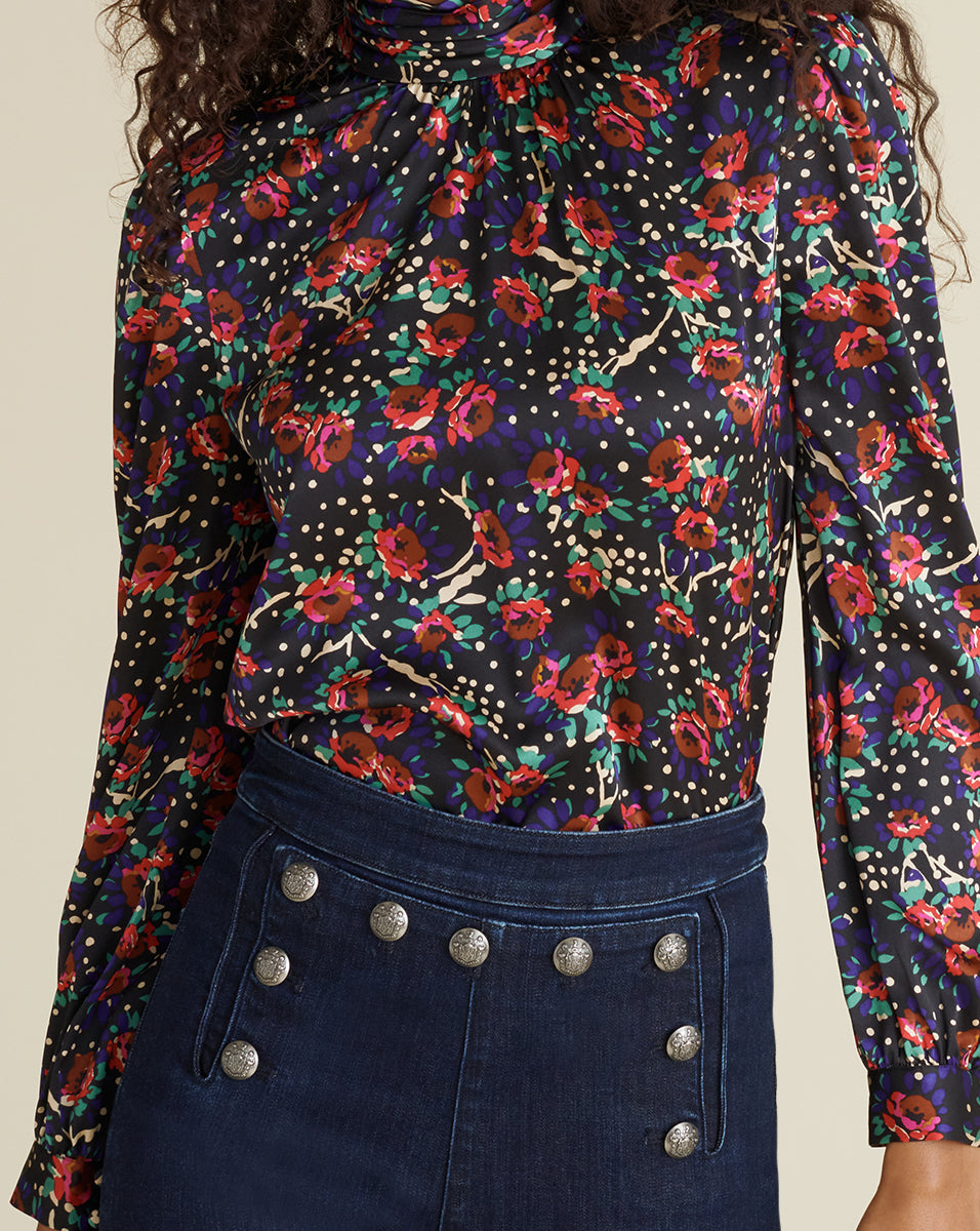 Chilton Floral Blouse - Black Multi