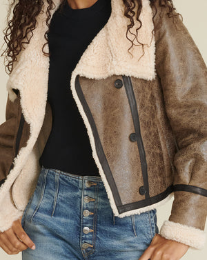 Selita Leather Shearling Jacket - Brown/ivory