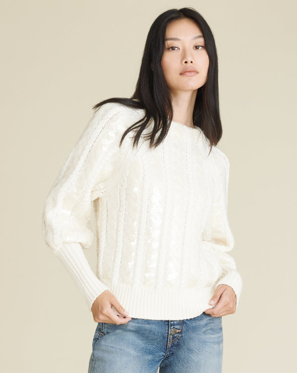 Yola Sequin Cable-Knit Pullover - Ivory