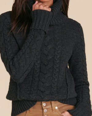 Sereia Cable-Knit Sweater - Charcoal