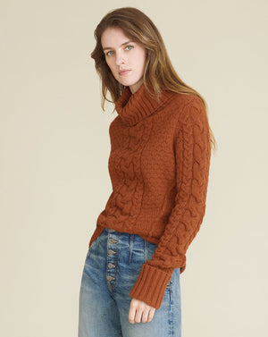 Sereia Cable-Knit Sweater - Cognac
