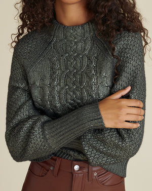 Yola Cable-Knit Pullover - Gunmetal