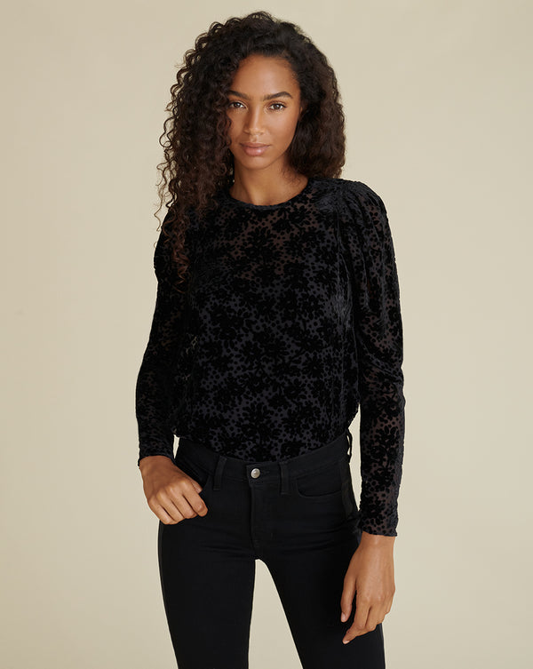 Reverie Burnout Velvet Blouse - Black
