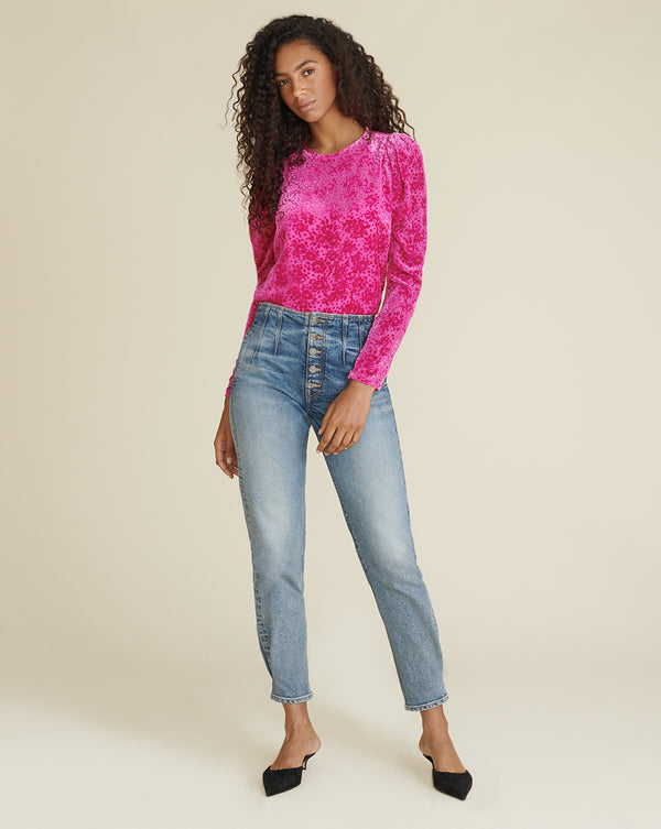 Reverie Burnout Velvet Blouse - Magenta