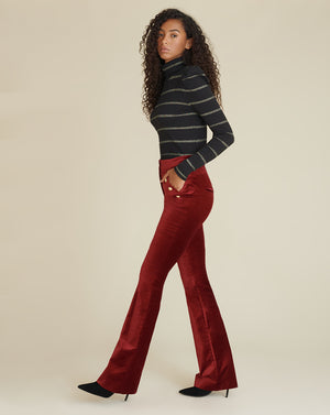Verity Velvet Pant - Ruby