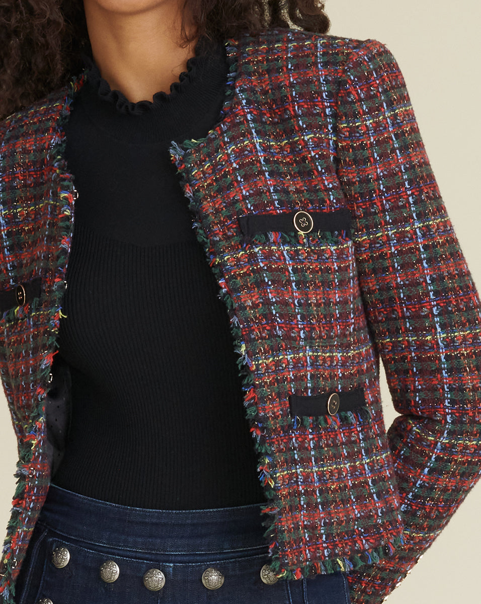Nerva Metallic Tweed Jacket - Multi