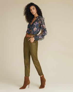 Sethe High-Rise Leather Pant - Olive