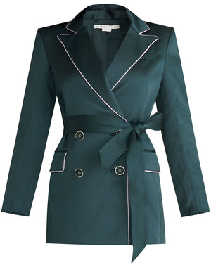 Eiza Satin Jacket - Emerald