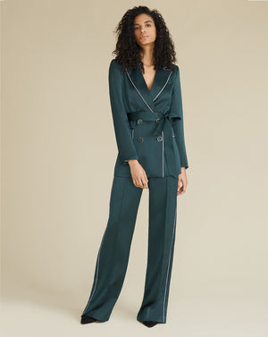 Edia Satin Wide-Leg Pant - Emerald