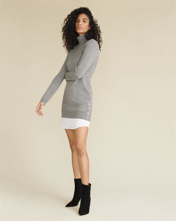 Soval Mixed Media Dress - Grey Melange