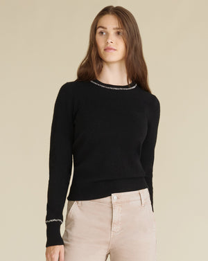Zalga C-Neck Cashmere Sweater - Black