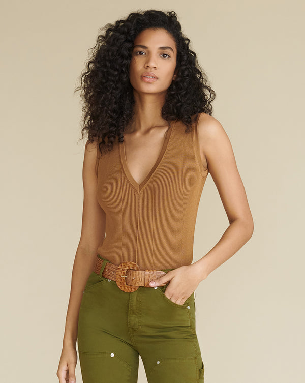 Brie Sleeveless Shell - Bronze