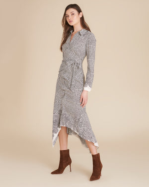 Ondine Houndstooth Wrap Dress - Ivory/black