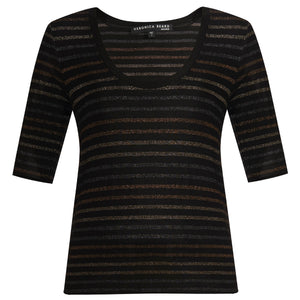 Poppy U-Neck Tee - Metallic Multi