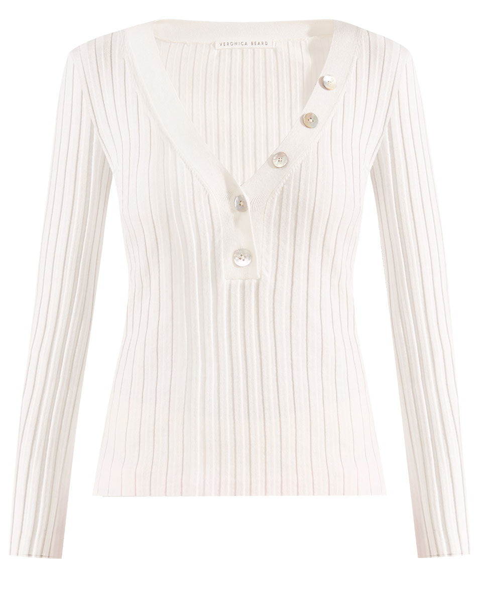 Juliana V-Neck Henley - Off White